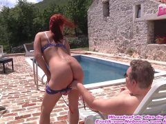 german petite redhead teen at outdoor sextape