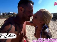 german couple at public fuck at the beach