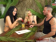 funny sex game threesome with german blonde and brunette